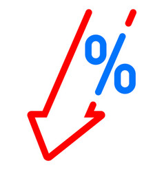 Gdp decrease fall red arrow and percent icon gdp vector