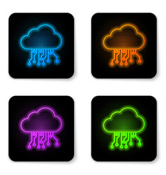 glowing neon internet things icon isolated on vector image