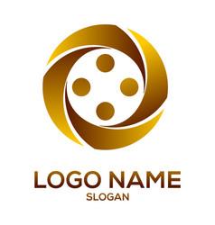 golden circle element logo vector image