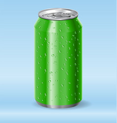 Green aluminum drink soda can with water droplets vector