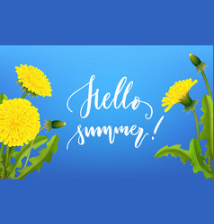 Greeting card hello summer dandelion background vector