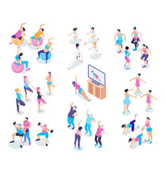 gym isometric icons set vector image