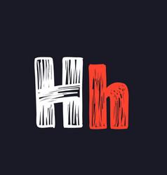 H letter hand-drawn chalk on a blackboard vector