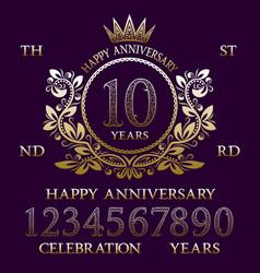 happy anniversary sign kit golden emblem elements vector image