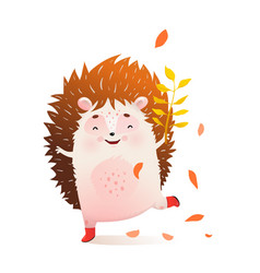 Happy hedgehog smiling playing in nature fun child vector