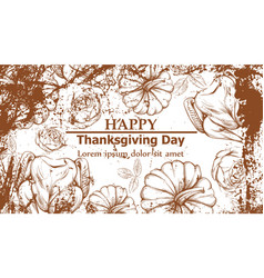 happy thanksgiving card with turkey and pumpkins vector image