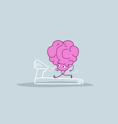 human brain running on treadmill healthy lifestyle vector image