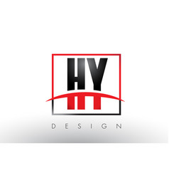 hy h y logo letters with red and black colors and vector image