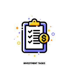 icon clipboard with checklist for investment tasks vector image