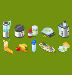 isometric healthy lifestyle elements set vector image