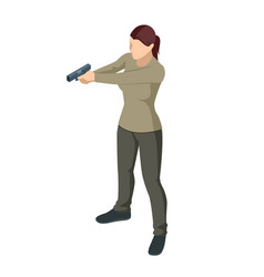 Isometric woman with a gun in his hand isolated vector