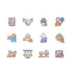 Legal services rgb color icons set vector