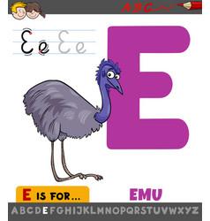Letter e worksheet with cartoon emu bird vector