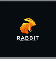 Logo rabbit poly colorful style vector
