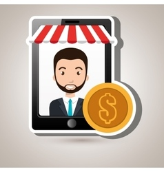 Man online market money vector