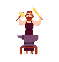 man or hephaestus greek god stands at anvil with vector image