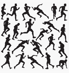 man running silhouettes vector image