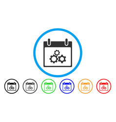 mechanics gears calendar day rounded icon vector image vector image