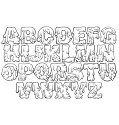 Melting type trendy font made in hand drawn line vector