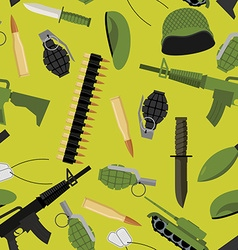Military seamless pattern Army background objects vector image