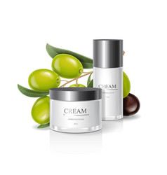 moisturizing cream jar with olive oil vector image