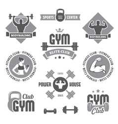 Monochrome gym labels vector image