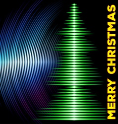 Musical christmas tree card with vinyl grooves vector