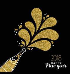New year 2018 gold glitter champagne party bottle vector