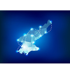 North Korea country map polygonal with spot lights vector