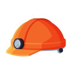 orange helmet with lamp geology research vector image