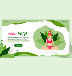 outdoor yoga young woman doing asana on nature vector image