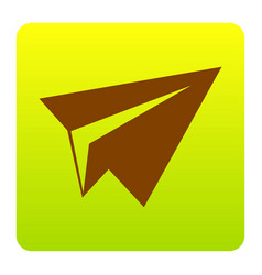 paper airplane sign brown icon at green vector image