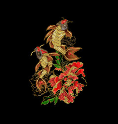 Print with embroidery of carp koi vector