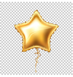 realistic gold star shape balloon with lace vector image