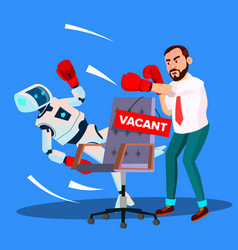 robot boxing with businessman for vacant place at vector image