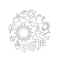 Round gardening theme vector