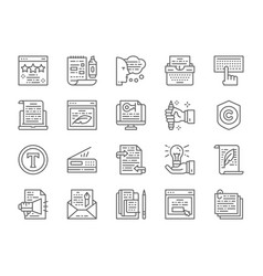 set copywriting line icons typewriter vector image