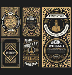 Set of 5 old labels western style vector