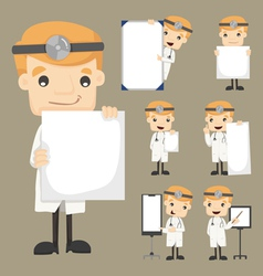 Set of doctor holding blank notes characters poses vector image