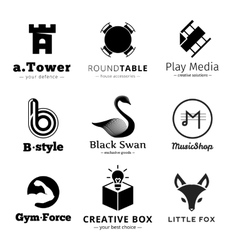 Set of minimalistic black and white logos vector
