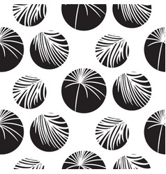 silhouette circles and palm leaves black seamless vector image