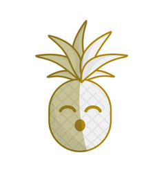 Silhouette kawaii cute funny pineapple vegetable vector