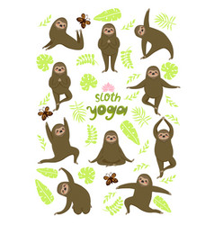 Sloth yoga different poses sloths isolated vector
