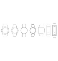 Smart watches wireframe outline icons vector