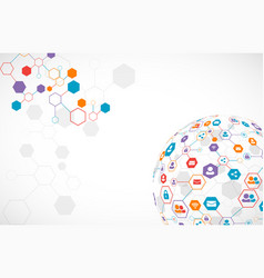 Social media background network concept vector