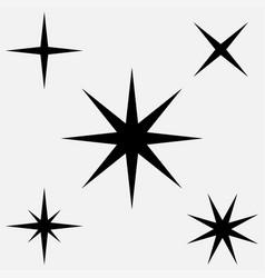star - icon five black stars set of black stars vector image