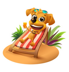 Summer beach vacation yellow dog lies on vector