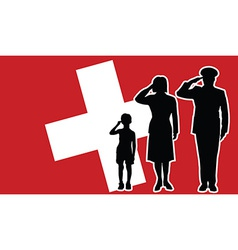 Switzerland soldier family salute vector image