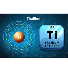 Symbol and electron diagram Thallium vector