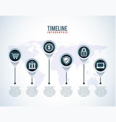 Timeline infographic world shopping online bank vector